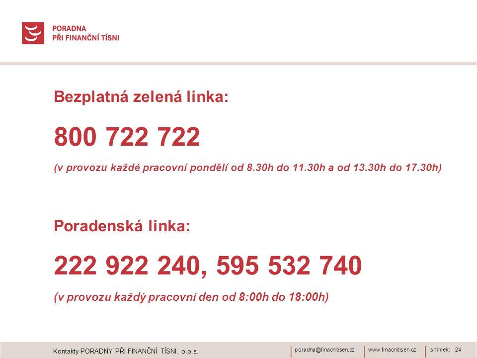 www.finacnitisen.czporadna@finacnitisen.cz • Bezplatná zelená linka: • 800 722 722 • (v provozu každé pracovní pondělí od 8.30h do 11.30h a od 13.30h