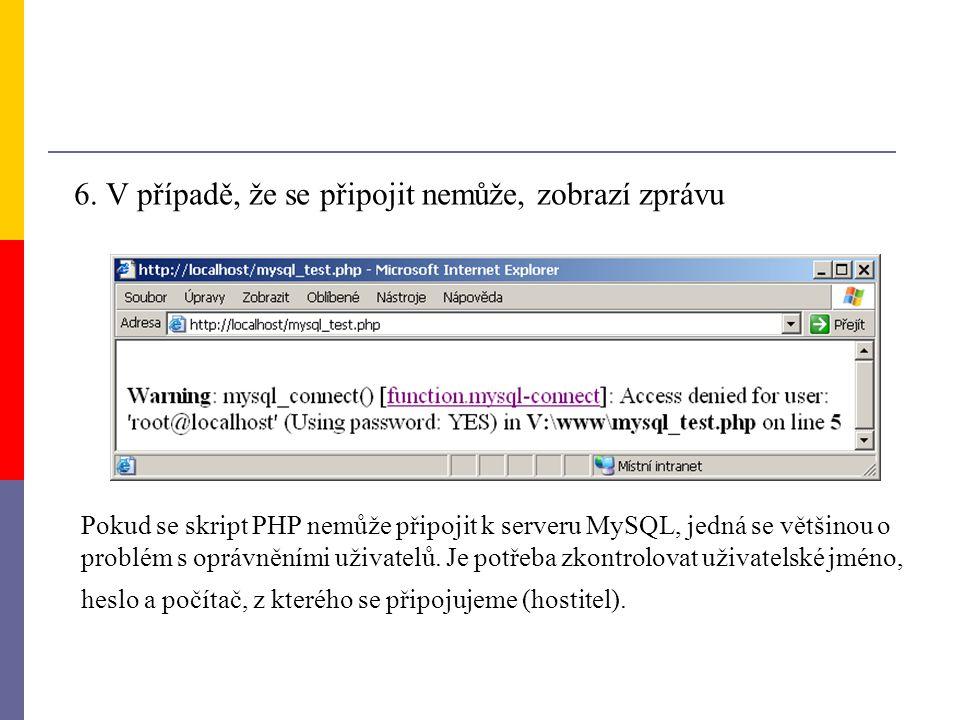 6. V případě, že se připojit nemůže, zobrazí zprávu Pokud se skript PHP nemůže připojit k serveru MySQL, jedná se většinou o problém s oprávněními uži