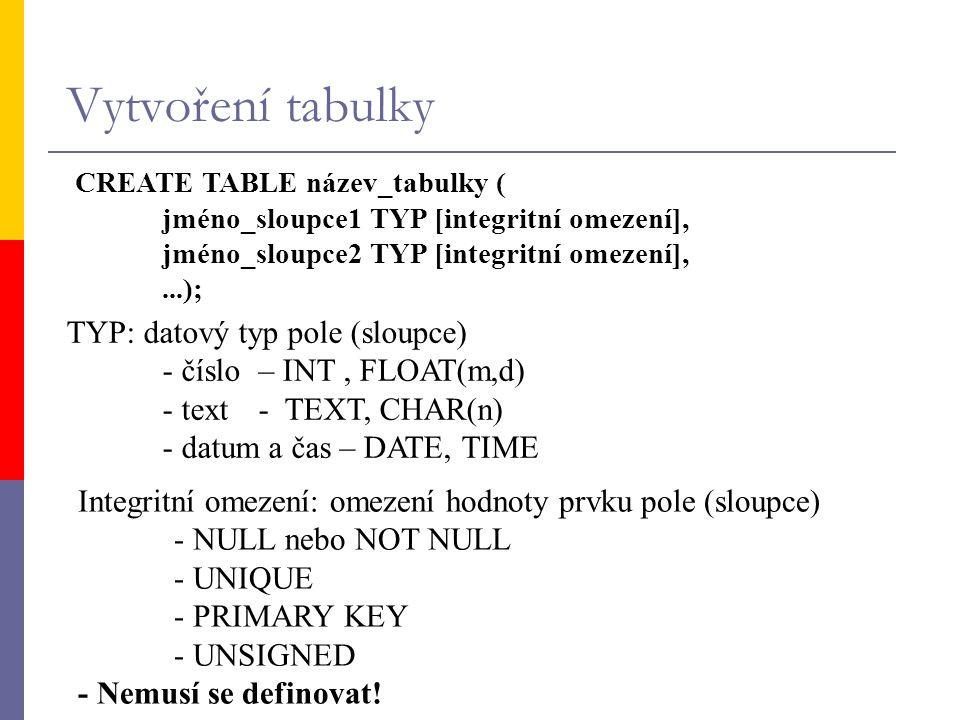 Vytvoření tabulky CREATE TABLE název_tabulky ( jméno_sloupce1 TYP [integritní omezení], jméno_sloupce2 TYP [integritní omezení],...); TYP: datový typ