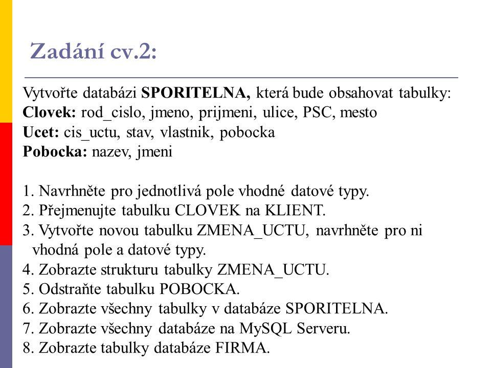 Vytvořte databázi SPORITELNA, která bude obsahovat tabulky: Clovek: rod_cislo, jmeno, prijmeni, ulice, PSC, mesto Ucet: cis_uctu, stav, vlastnik, pobo