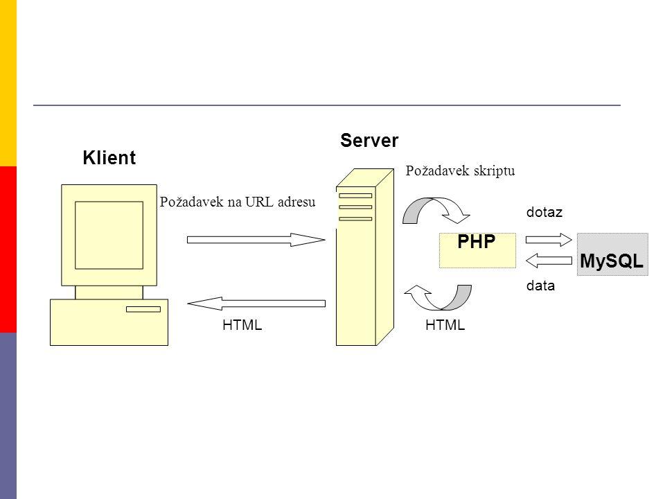 PHP Klient Server Požadavek skriptu HTML Požadavek na URL adresu HTML MySQL dotaz data