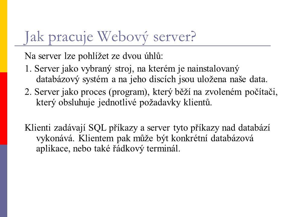 Jak pracuje Webový server? Na server lze pohlížet ze dvou úhlů: 1. Server jako vybraný stroj, na kterém je nainstalovaný databázový systém a na jeho d