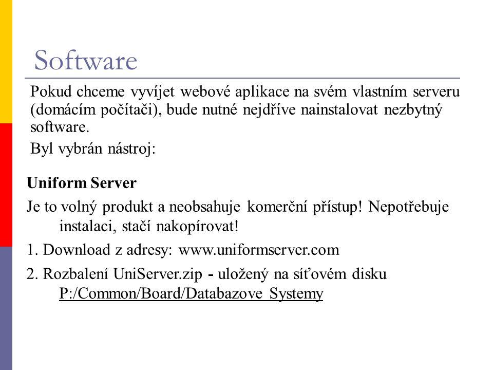 Software Pokud chceme vyvíjet webové aplikace na svém vlastním serveru (domácím počítači), bude nutné nejdříve nainstalovat nezbytný software. Byl vyb