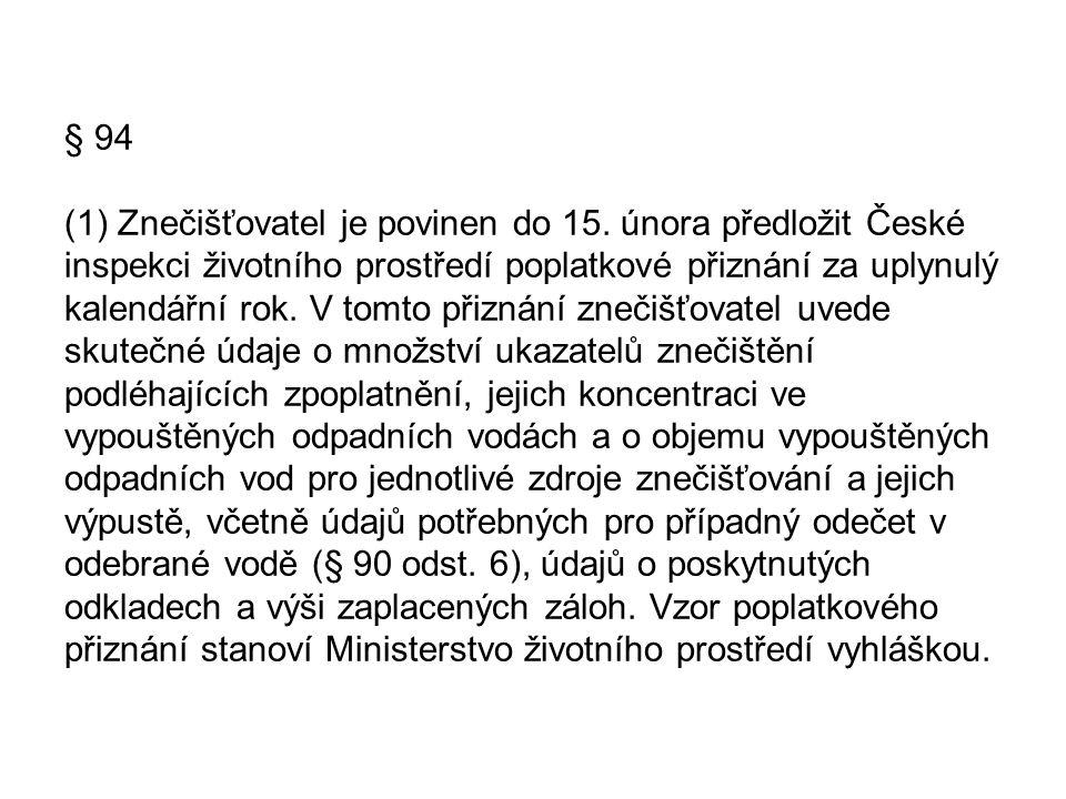 § 94 (1) Znečišťovatel je povinen do 15. února předložit České inspekci životního prostředí poplatkové přiznání za uplynulý kalendářní rok. V tomto př