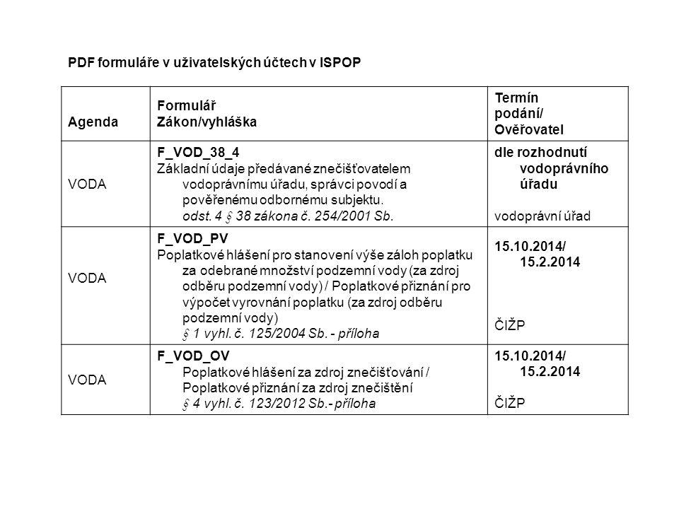 PDF formuláře v uživatelských účtech v ISPOP Agenda Formulář Zákon/vyhláška Termín podání/ Ověřovatel VODA F_VOD_38_4 Základní údaje předávané znečišťovatelem vodoprávnímu úřadu, správci povodí a pověřenému odbornému subjektu.