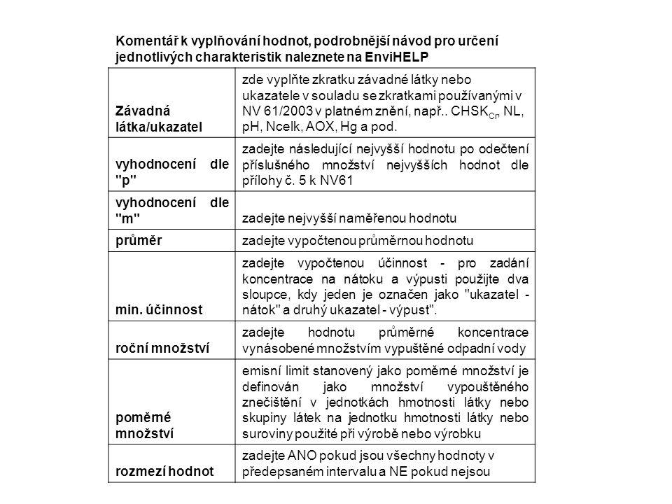 Komentář k vyplňování hodnot, podrobnější návod pro určení jednotlivých charakteristik naleznete na EnviHELP Závadná látka/ukazatel zde vyplňte zkratku závadné látky nebo ukazatele v souladu se zkratkami používanými v NV 61/2003 v platném znění, např..