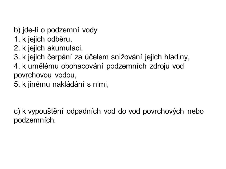 Agenda Formulář Zákon/vyhláška Termín podání/ Ověřovatel VODA F_VOD_ODBER_PODZ Odběr podzemní vody § 10 vyhl.
