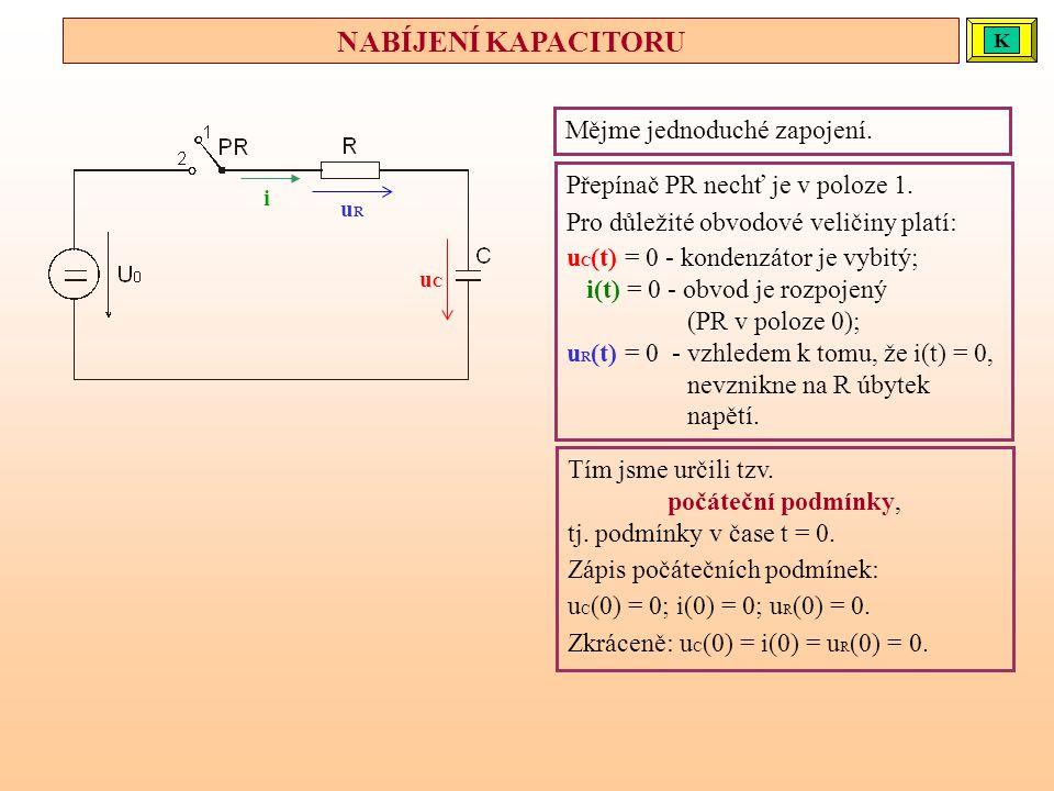 Mějme jednoduché zapojení. Přepínač PR nechť je v poloze 1. Pro důležité obvodové veličiny platí: u C (t) = 0 - kondenzátor je vybitý; i(t) = 0 - obvo