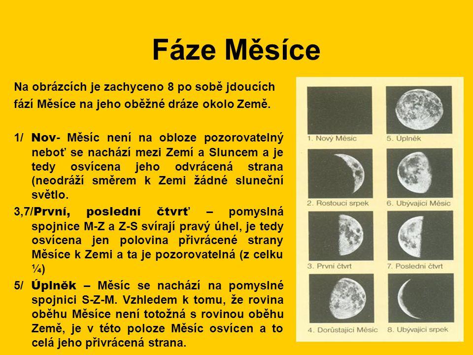 Fáze Měsíce Na obrázcích je zachyceno 8 po sobě jdoucích fází Měsíce na jeho oběžné dráze okolo Země. 1/ Nov - Měsíc není na obloze pozorovatelný nebo