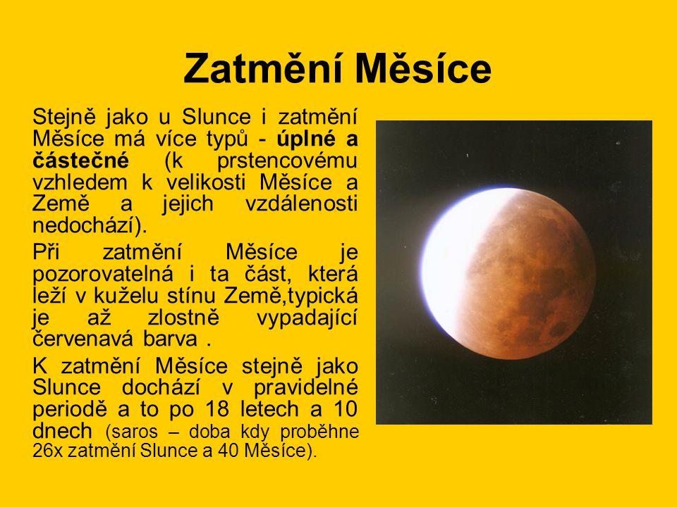 Zatmění Měsíce Stejně jako u Slunce i zatmění Měsíce má více typů - úplné a částečné (k prstencovému vzhledem k velikosti Měsíce a Země a jejich vzdál