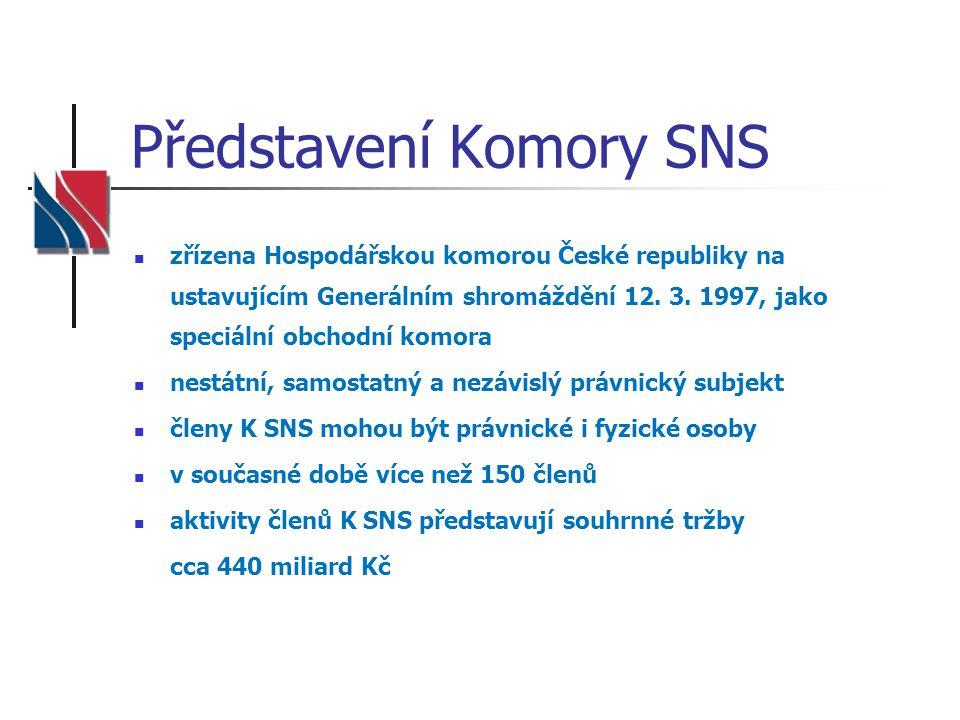 Představení Komory SNS  zřízena Hospodářskou komorou České republiky na ustavujícím Generálním shromáždění 12. 3. 1997, jako speciální obchodní komor