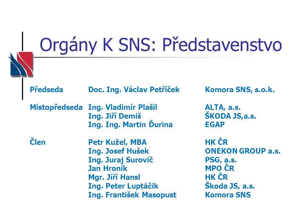 Orgány K SNS: Představenstvo PředsedaDoc. Ing. Václav PetříčekKomora SNS, s.o.k. MístopředsedaIng. Vladimír PlašilALTA, a.s. Ing. Jiří DemišŠKODA JS,a