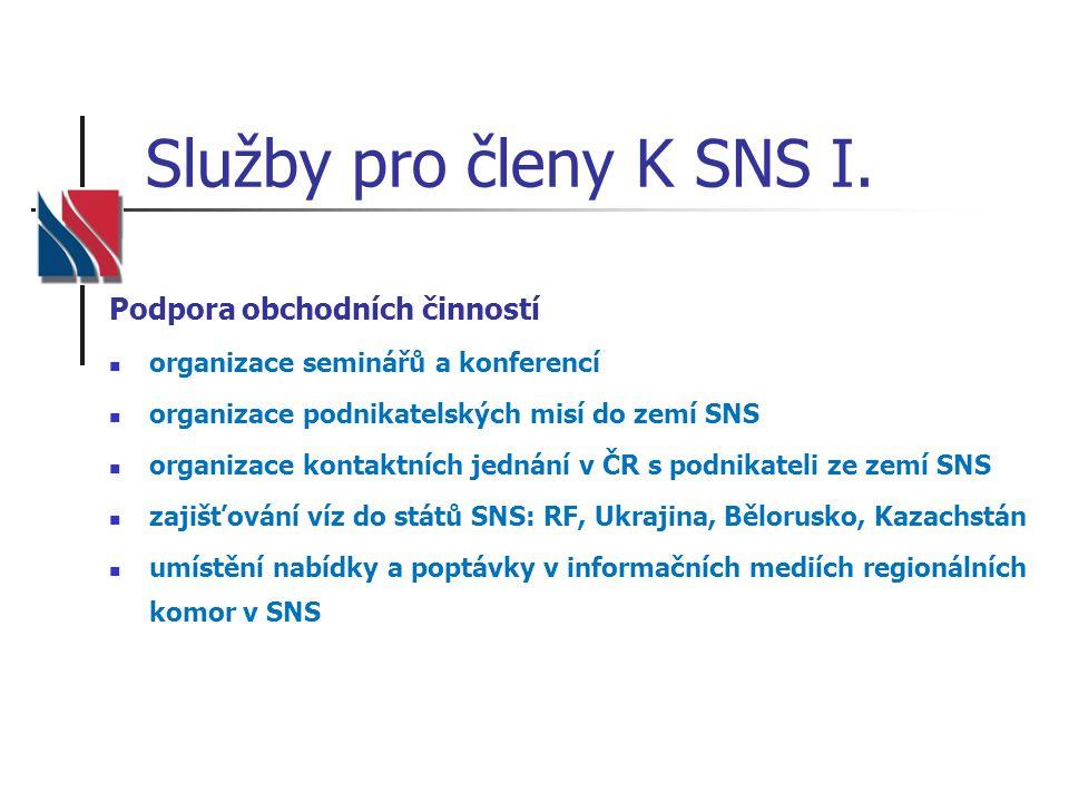 Služby pro členy K SNS I. Podpora obchodních činností  organizace seminářů a konferencí  organizace podnikatelských misí do zemí SNS  organizace ko