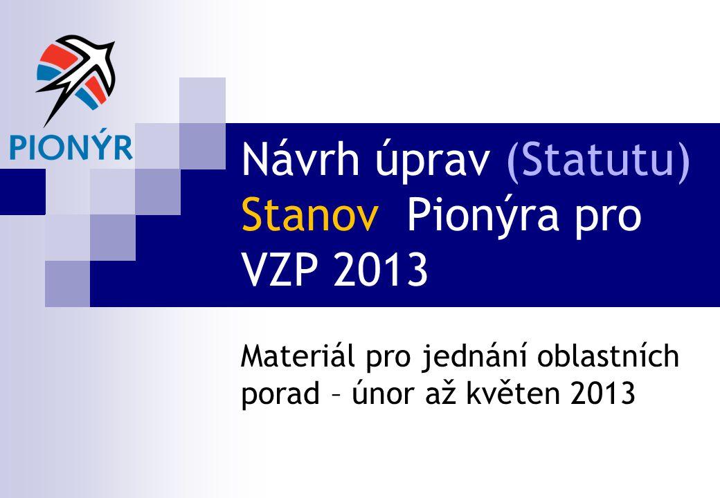 Návrh úprav (Statutu) Stanov Pionýra pro VZP 2013 Materiál pro jednání oblastních porad – únor až květen 2013