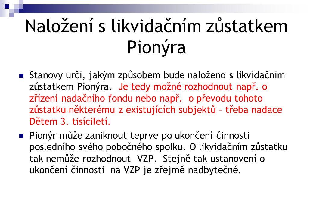 Naložení s likvidačním zůstatkem Pionýra  Stanovy určí, jakým způsobem bude naloženo s likvidačním zůstatkem Pionýra. Je tedy možné rozhodnout např.