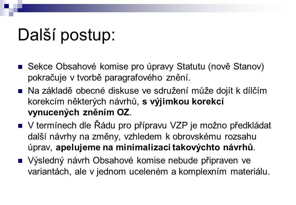 Další postup:  Sekce Obsahové komise pro úpravy Statutu (nově Stanov) pokračuje v tvorbě paragrafového znění.  Na základě obecné diskuse ve sdružení