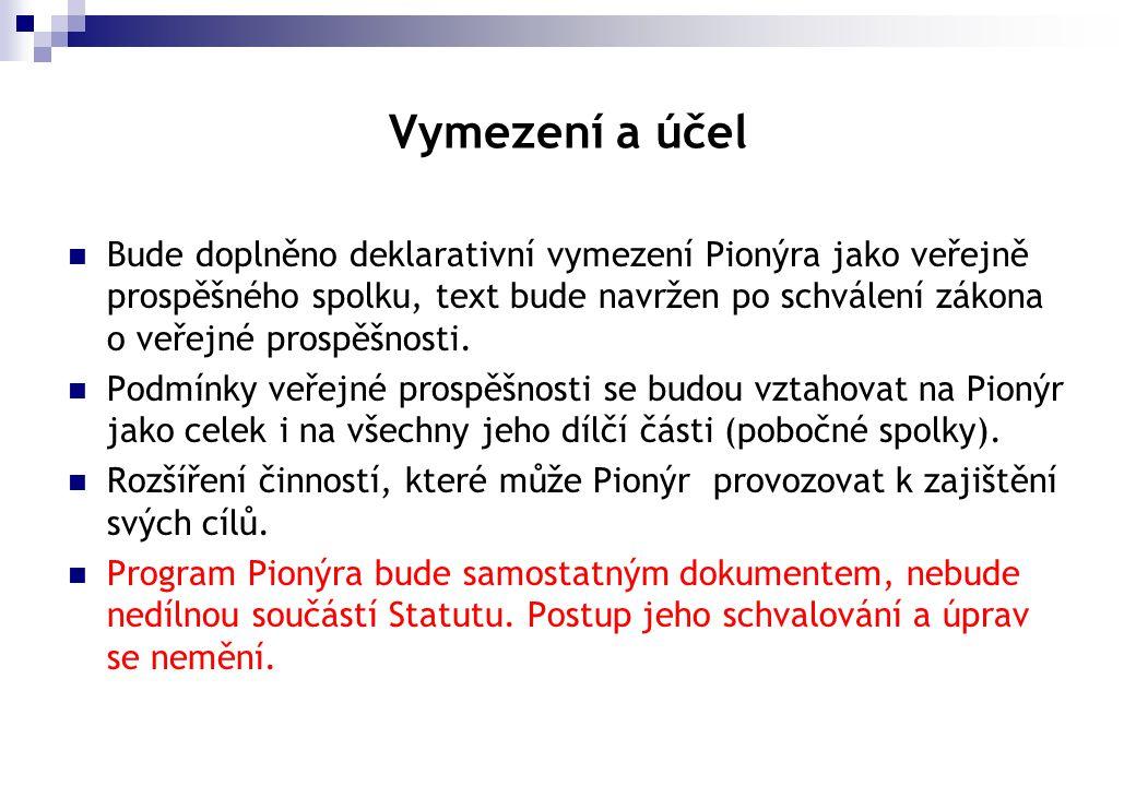 Vymezení a účel  Bude doplněno deklarativní vymezení Pionýra jako veřejně prospěšného spolku, text bude navržen po schválení zákona o veřejné prospěš