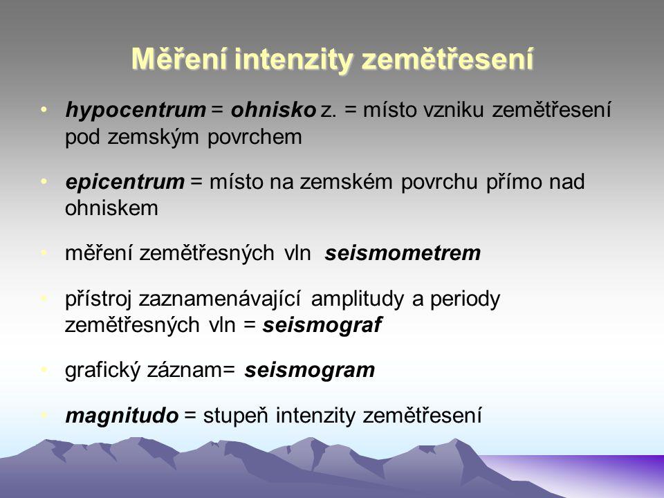Měření intenzity zemětřesení •hypocentrum = ohnisko z. = místo vzniku zemětřesení pod zemským povrchem •epicentrum = místo na zemském povrchu přímo na