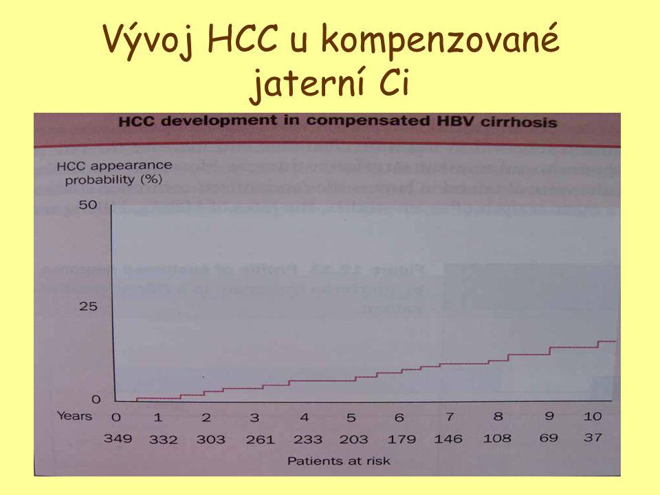 Vývoj HCC u kompenzované jaterní Ci