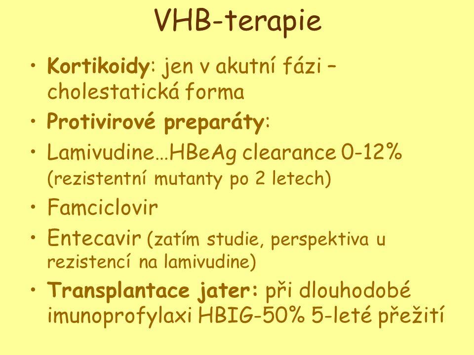 VHB-terapie •Kortikoidy: jen v akutní fázi – cholestatická forma •Protivirové preparáty: •Lamivudine…HBeAg clearance 0-12% (rezistentní mutanty po 2 letech) •Famciclovir •Entecavir (zatím studie, perspektiva u rezistencí na lamivudine) •Transplantace jater: při dlouhodobé imunoprofylaxi HBIG-50% 5-leté přežití