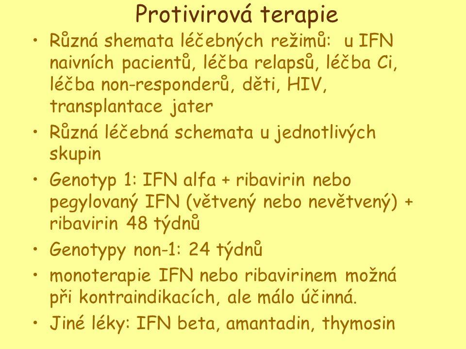 Protivirová terapie •Různá shemata léčebných režimů: u IFN naivních pacientů, léčba relapsů, léčba Ci, léčba non-responderů, děti, HIV, transplantace jater •Různá léčebná schemata u jednotlivých skupin •Genotyp 1: IFN alfa + ribavirin nebo pegylovaný IFN (větvený nebo nevětvený) + ribavirin 48 týdnů •Genotypy non-1: 24 týdnů •monoterapie IFN nebo ribavirinem možná při kontraindikacích, ale málo účinná.