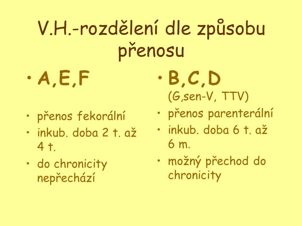 V.H.-rozdělení dle způsobu přenosu •A,E,F •přenos fekorální •inkub.