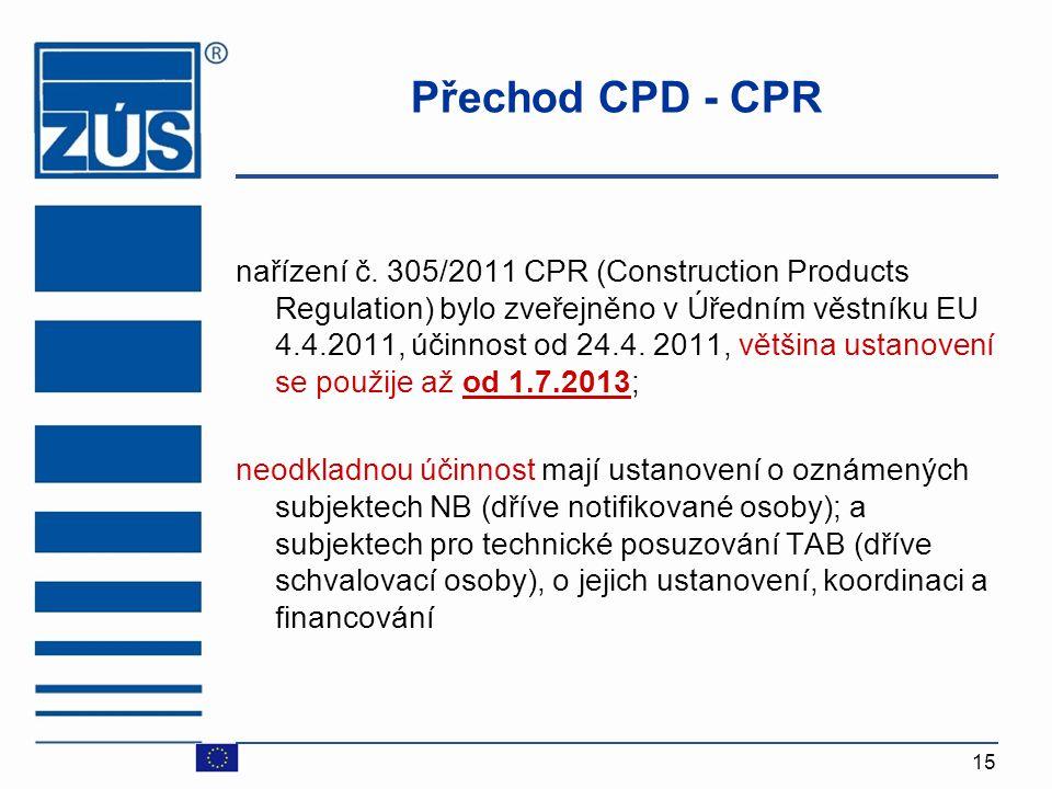 15 Přechod CPD - CPR nařízení č. 305/2011 CPR (Construction Products Regulation) bylo zveřejněno v Úředním věstníku EU 4.4.2011, účinnost od 24.4. 201