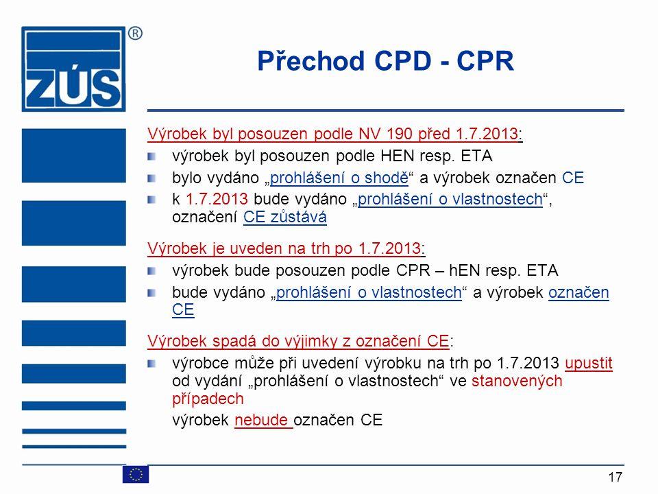"""17 Přechod CPD - CPR Výrobek byl posouzen podle NV 190 před 1.7.2013: výrobek byl posouzen podle HEN resp. ETA bylo vydáno """"prohlášení o shodě"""" a výro"""