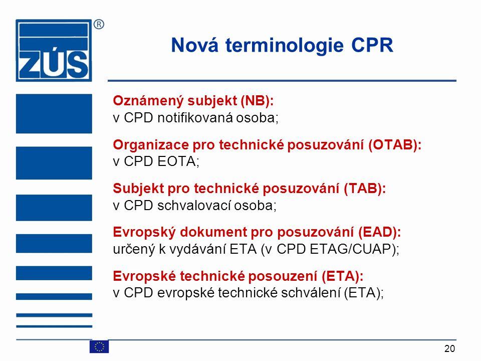20 Nová terminologie CPR Oznámený subjekt (NB): v CPD notifikovaná osoba ; Organizace pro technické posuzování (OTAB): v CPD EOTA ; Subjekt pro techni