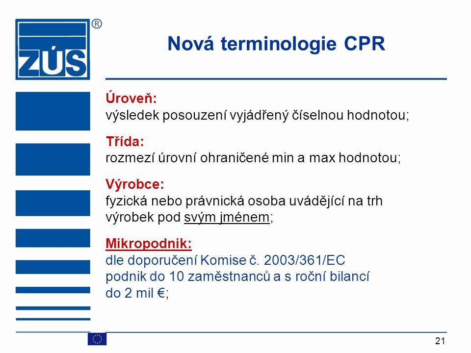 21 Nová terminologie CPR Úroveň: výsledek posouzení vyjádřený číselnou hodnotou ; Třída: rozmezí úrovní ohraničené min a max hodnotou ; Výrobce: fyzic
