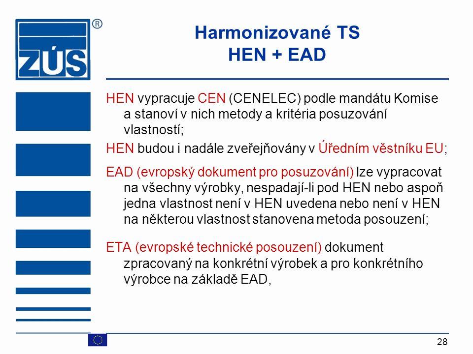 28 Harmonizované TS HEN + EAD HEN vypracuje CEN (CENELEC) podle mandátu Komise a stanoví v nich metody a kritéria posuzování vlastností; HEN budou i n
