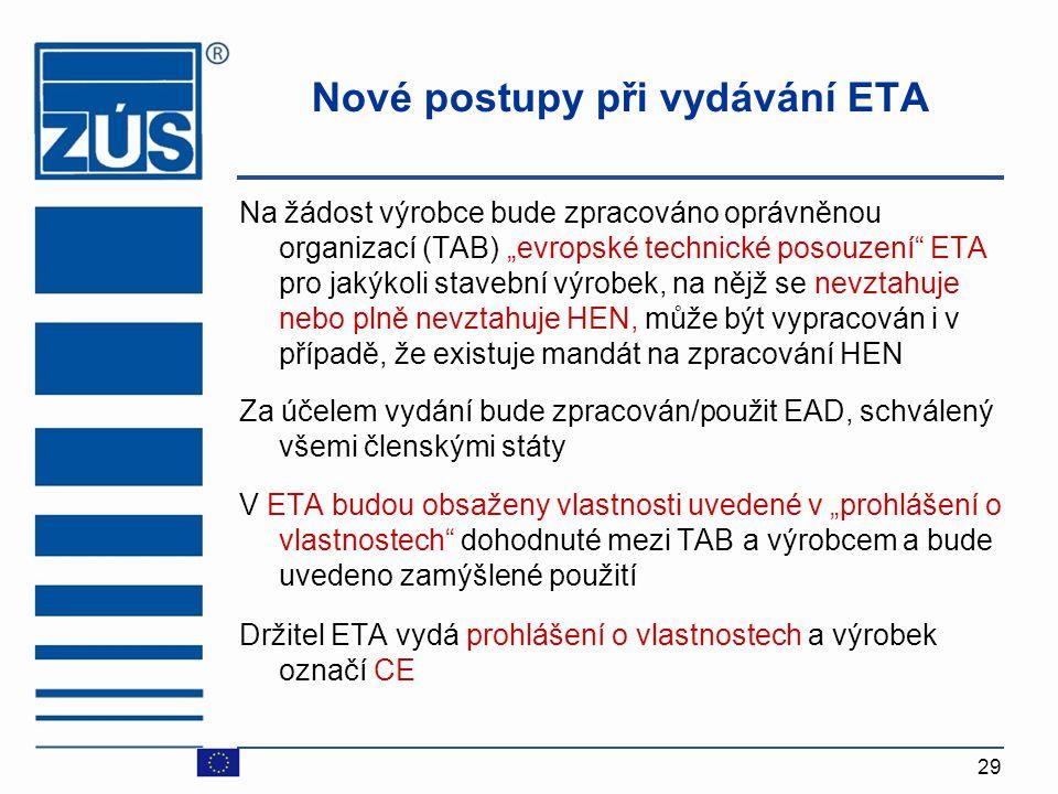"""29 Nové postupy při vydávání ETA Na žádost výrobce bude zpracováno oprávněnou organizací (TAB) """"evropské technické posouzení"""" ETA pro jakýkoli stavebn"""
