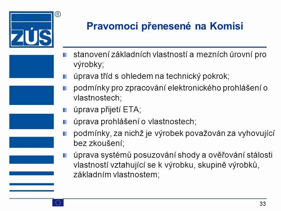33 Pravomoci přenesené na Komisi stanovení základních vlastností a mezních úrovní pro výrobky; úprava tříd s ohledem na technický pokrok; podmínky pro