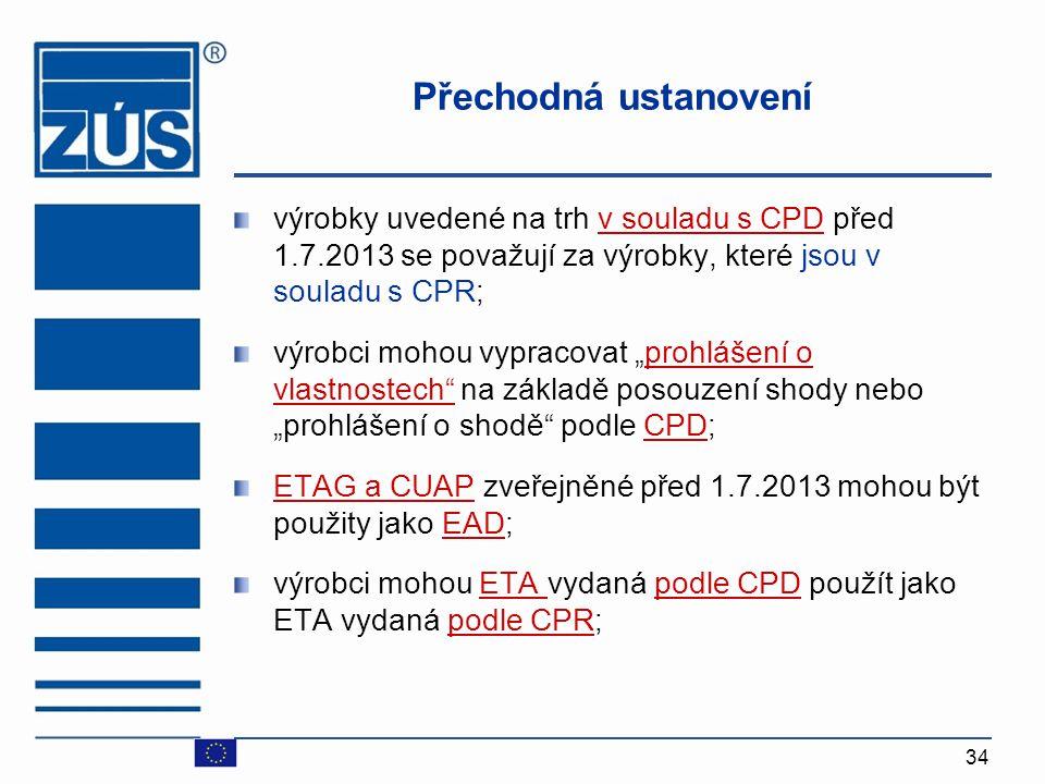 34 Přechodná ustanovení výrobky uvedené na trh v souladu s CPD před 1.7.2013 se považují za výrobky, které jsou v souladu s CPR ; výrobci mohou vyprac