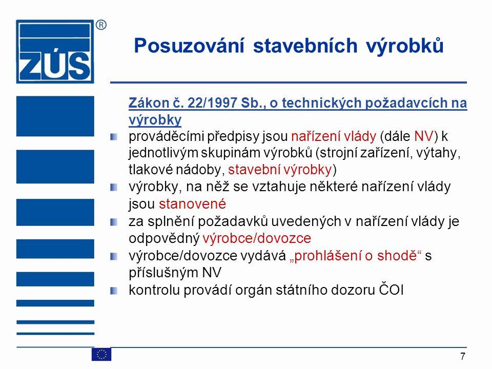 7 Posuzování stavebních výrobků Zákon č. 22/1997 Sb., o technických požadavcích na výrobky prováděcími předpisy jsou nařízení vlády (dále NV) k jednot