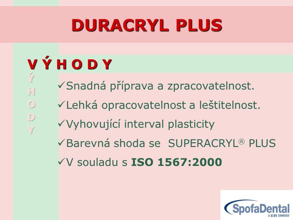 DURACRYL PLUS V Ý H O D Y V Ý H O D Y  Snadná příprava a zpracovatelnost.  Lehká opracovatelnost a leštitelnost.  Vyhovující interval plasticity 