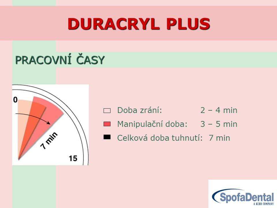 DURACRYL PLUS PRACOVNÍ ČASY Doba zrání: 2 – 4 min Manipulační doba: 3 – 5 min Celková doba tuhnutí: 7 min