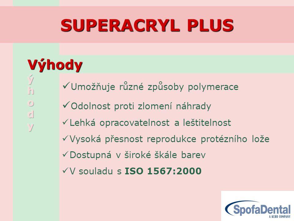 SUPERACRYL PLUS Výhody Výhody  Umožňuje různé způsoby polymerace  Odolnost proti zlomení náhrady  Lehká opracovatelnost a leštitelnost  Vysoká přesnost reprodukce protézního lože  Dostupná v široké škále barev  V souladu s ISO 1567:2000