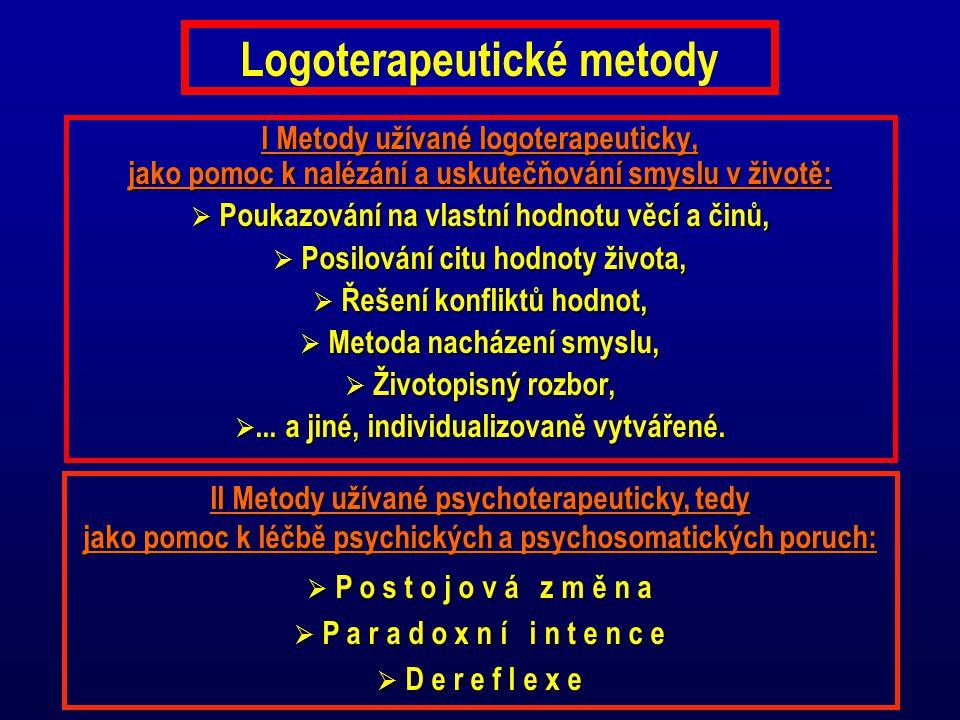 Logoterapeutické metody I Metody užívané logoterapeuticky, jako pomoc k nalézání a uskutečňování smyslu v životě:  Poukazování na vlastní hodnotu věc