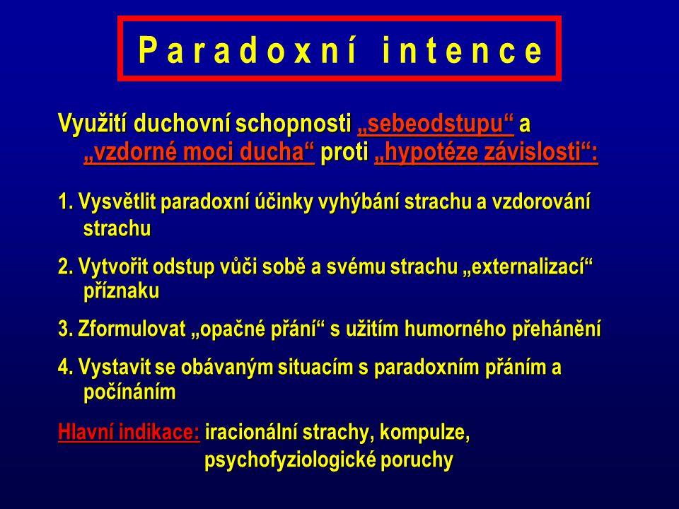 """P a r a d o x n í i n t e n c e Využití duchovní schopnosti """"sebeodstupu"""" a """"vzdorné moci ducha"""" proti """"hypotéze závislosti"""": 1. Vysvětlit paradoxní ú"""