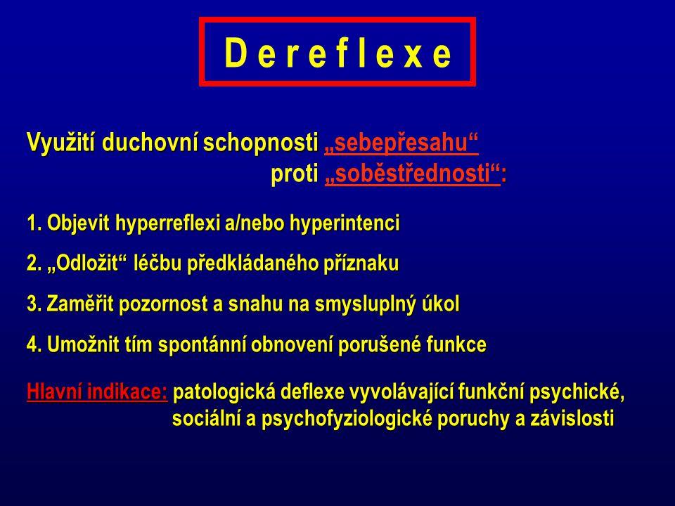 """D e r e f l e x e Využití duchovní schopnosti : Využití duchovní schopnosti """"sebepřesahu"""" proti """"soběstřednosti"""": 1. Objevit hyperreflexi a/nebo hyper"""