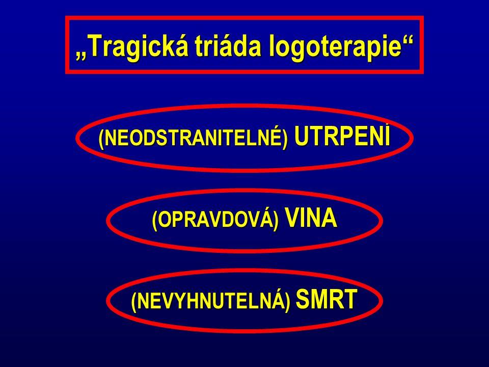 """""""Tragická triáda logoterapie"""" (NEODSTRANITELNÉ) UTRPENÍ (OPRAVDOVÁ) VINA (NEVYHNUTELNÁ) SMRT"""