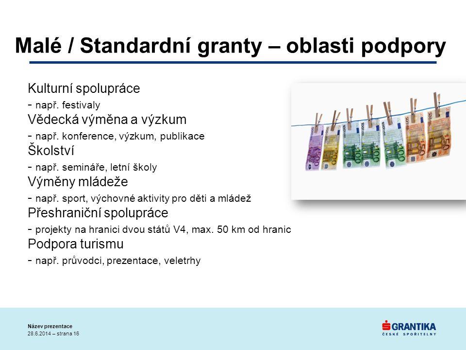 Malé / Standardní granty – oblasti podpory Kulturní spolupráce - např. festivaly Vědecká výměna a výzkum - např. konference, výzkum, publikace Školstv