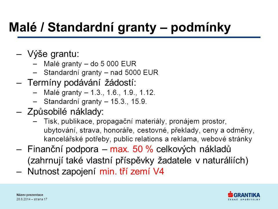 –Výše grantu: –Malé granty – do 5 000 EUR –Standardní granty – nad 5000 EUR –Termíny podávání žádostí: –Malé granty – 1.3., 1.6., 1.9., 1.12. –Standar