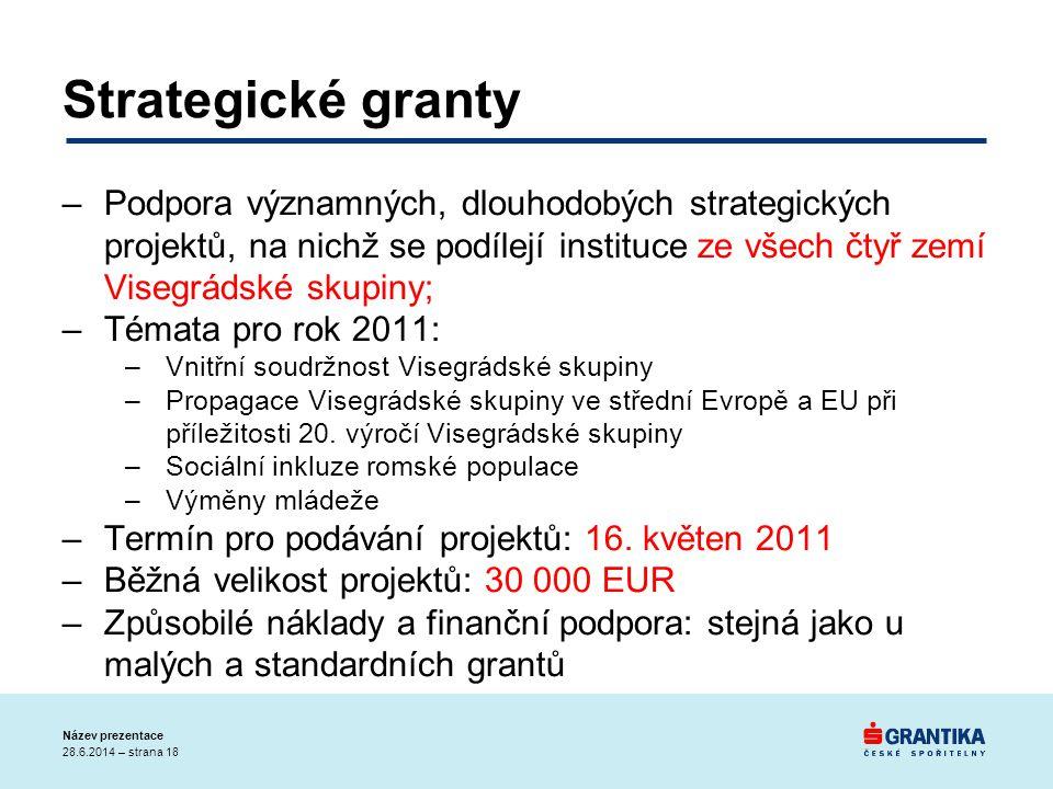 Strategické granty –Podpora významných, dlouhodobých strategických projektů, na nichž se podílejí instituce ze všech čtyř zemí Visegrádské skupiny; –T