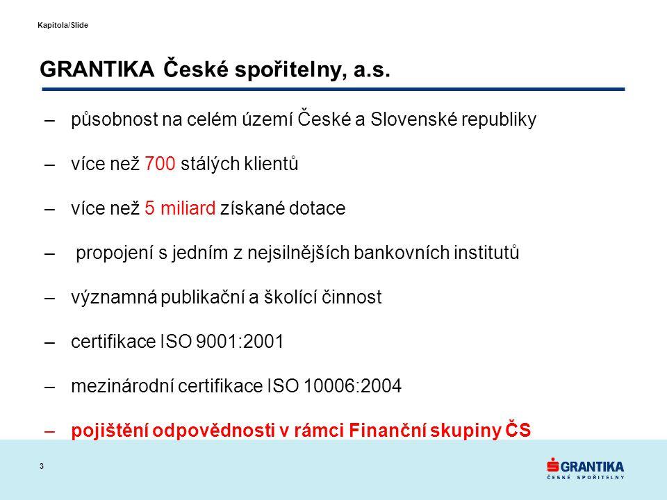 3 Kapitola/Slide GRANTIKA České spořitelny, a.s. –působnost na celém území České a Slovenské republiky –více než 700 stálých klientů –více než 5 milia
