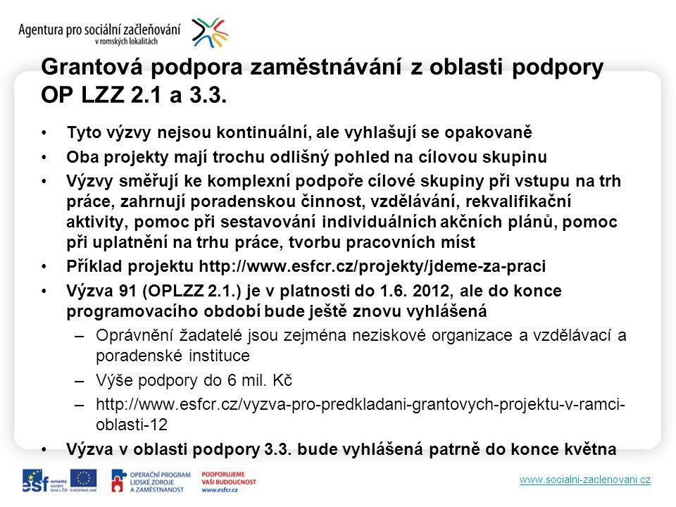 www.socialni-zaclenovani.cz Grantová podpora zaměstnávání z oblasti podpory OP LZZ 2.1 a 3.3.