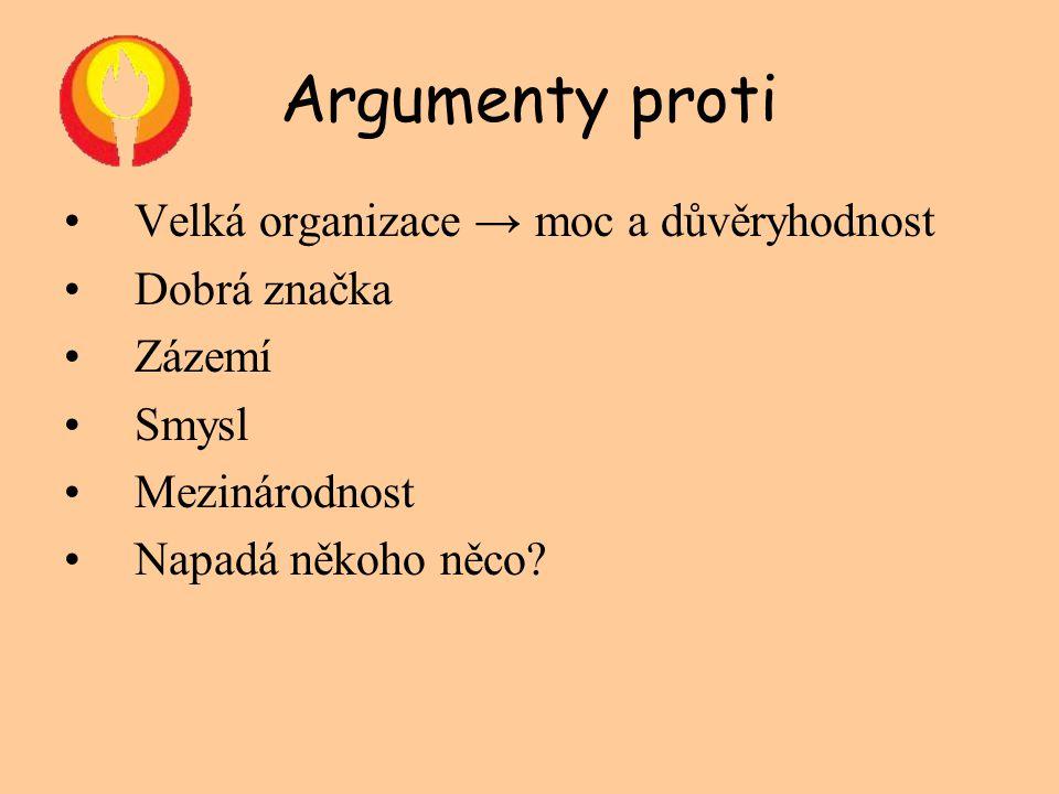 Argumenty proti •Velká organizace → moc a důvěryhodnost •Dobrá značka •Zázemí •Smysl •Mezinárodnost •Napadá někoho něco?