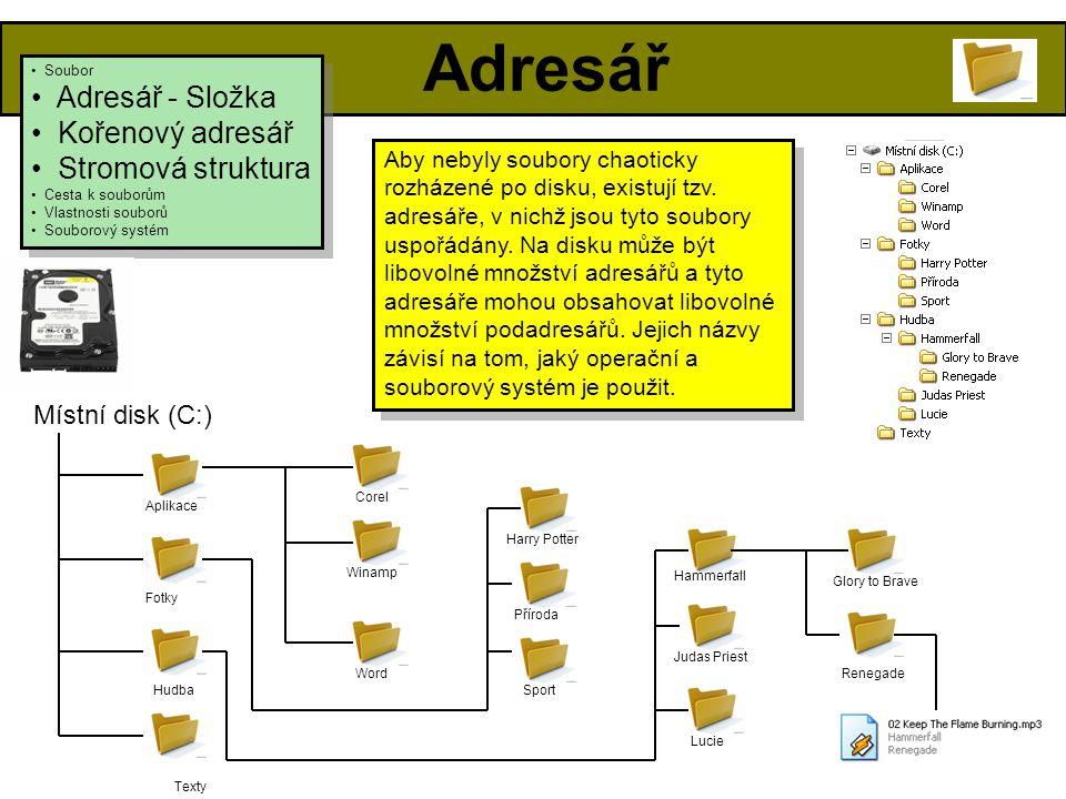 Adresář • Soubor • Adresář - Složka • Kořenový adresář • Stromová struktura • Cesta k souborům • Vlastnosti souborů • Souborový systém • Soubor • Adresář - Složka • Kořenový adresář • Stromová struktura • Cesta k souborům • Vlastnosti souborů • Souborový systém Aby nebyly soubory chaoticky rozházené po disku, existují tzv.