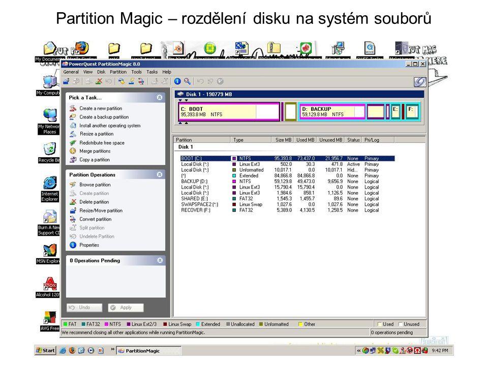 Partition Magic – rozdělení disku na systém souborů